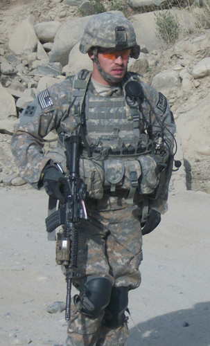 Former Staff Sgt. Clinton L. Romesha on a mission in Afghanistan in 2009. One of his soldiers credits him with saving the lives of everyone assigned to Combat Outpost Keating on Oct. 3, 2009, after Romesha's actions helped repel a massive enemy assault. He continually exposed himself to enemy fire and his courage, decisiveness and utter calm inspired his soldiers to keep fighting. Romesha will receive the Medal of Honor in a Feb. 11, 2013, White House ceremony. (Photo courtesy of Clinton L. Romesha)