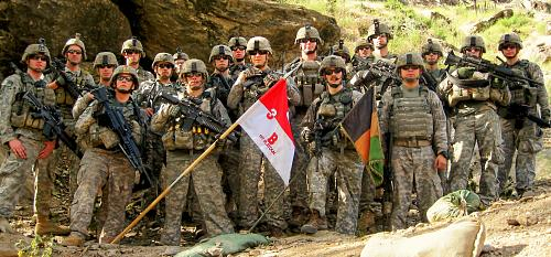 Soldiers of 1st Platoon, Bravo Troop, 3rd Squadron, 61st Cavalry Regiment, 4th Brigade Combat Team, 4th Infantry Division, are seen at Combat Outpost Keating, Afghanistan, in 2009. (Photo courtesy of 1st Lt. Brad Larson)